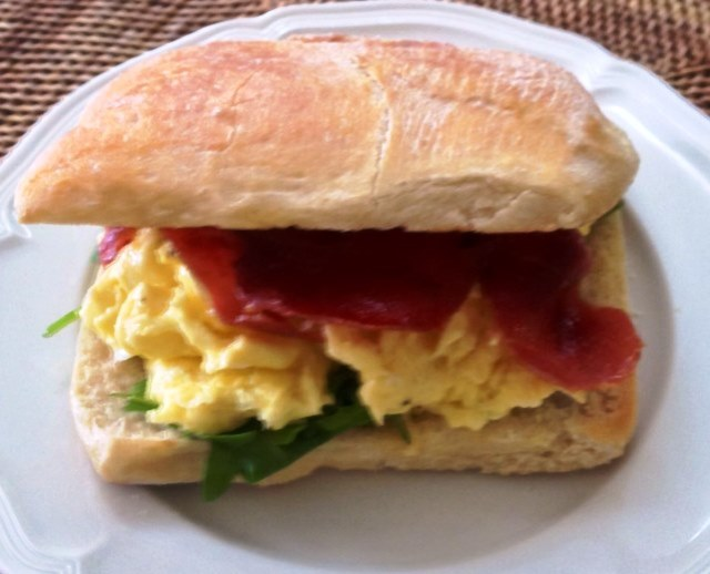 Panini With Scrambled Eggs, Proscuitto and Rocket