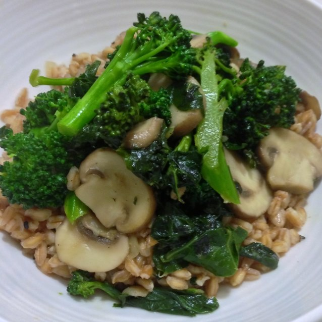 Farro Pilaf With Swiss Brown Mushrooms, Silverbeet and Broccolini