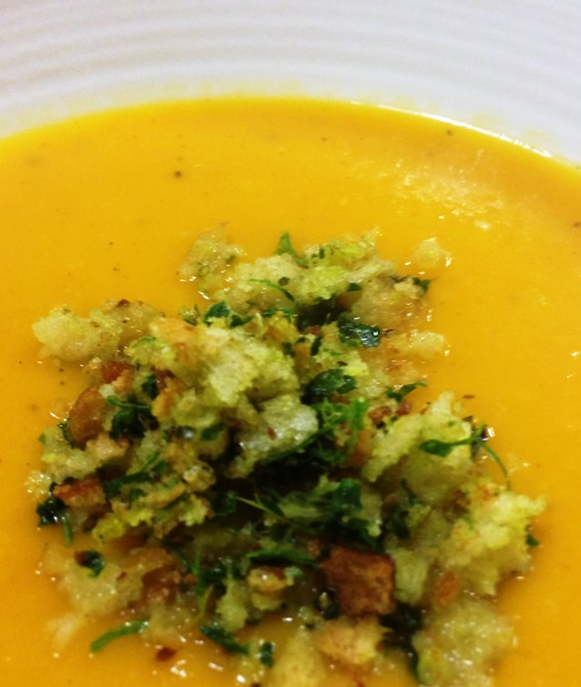 Pumpkin, Orange and Ginger Soup With Gremolata Crumbs