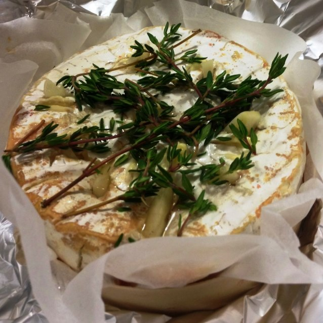 ... Double Cream Brie. Baked In Its Box With Garlic, White Wine and Thyme