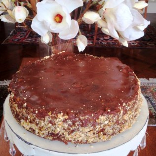 Finish With Top Layer of Chocolate Mousse and Press Hazelnut Praline Onto the Sides