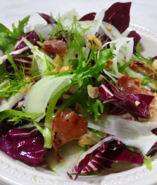 Winter Salad of Radicchio and Endive with Fennel, Apple, Pancetta and Hazelnuts