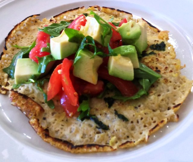 Chickpea Crepes With a Vine Ripened Tpmato and Avocado Salad.