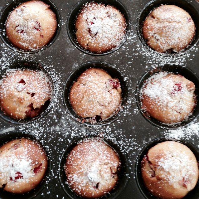 Strawberry and Rhubarb Brunch Muffins