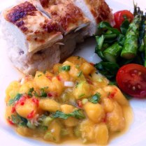 Fresh Mango Salsa Served With Roast Chicken