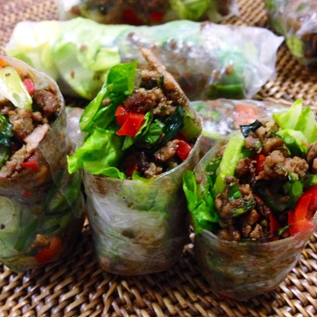 Pork, Mushroom and Broccolini Rice Paper Rolls With Lettuce and Soft Herbs