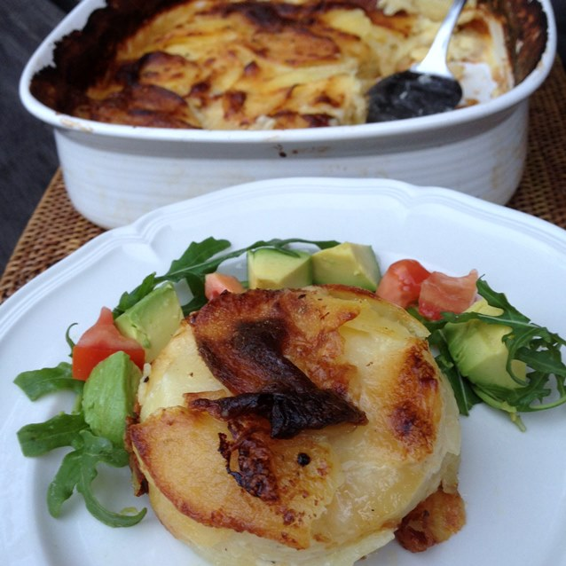Slow Baked Potato Gratin With Salad