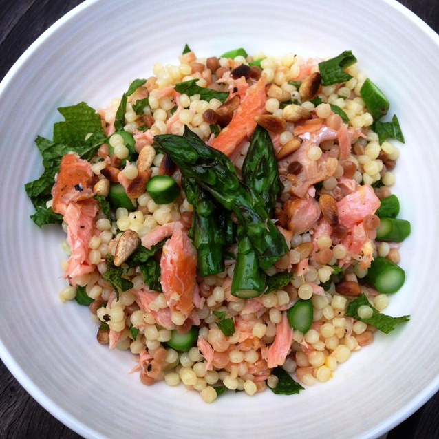 Toasted Fregola Salad With Hot-Smoked Salmon, Asparagus, Mint and Pine Nuts. 350 Calories a Serve.