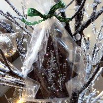 Chocolate Fudge Christmas Trees Wrapped In Cellophane