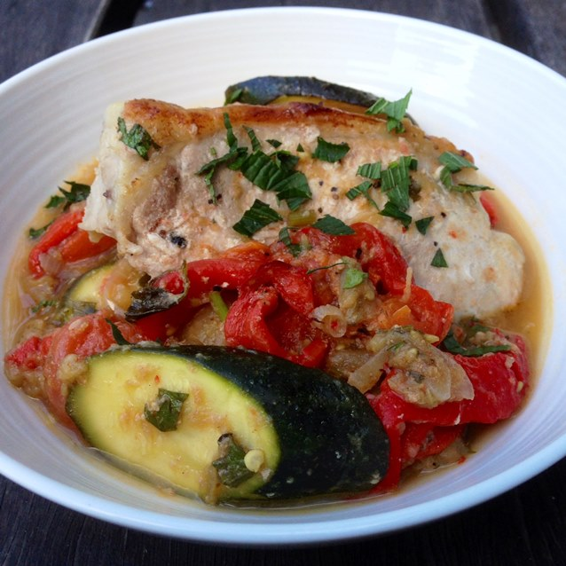 Roasted Pork Sirloin Steak With Ratatouille. Just 332 Calories Per Serve.
