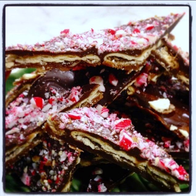 Sweet and Salty Chocolate Candy Cane Cracker Toffee. jpg