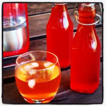 Home Made Strawberry Cordial With Lemon and Lime Spritzer