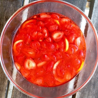 Home Made Strawberry Cordial With Lemon and Lime Steeped