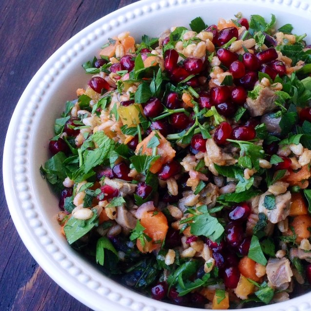 Lamb Shank, Pearl Barley and Sweet Potato Salad With Pomegranate and Fresh Herbs