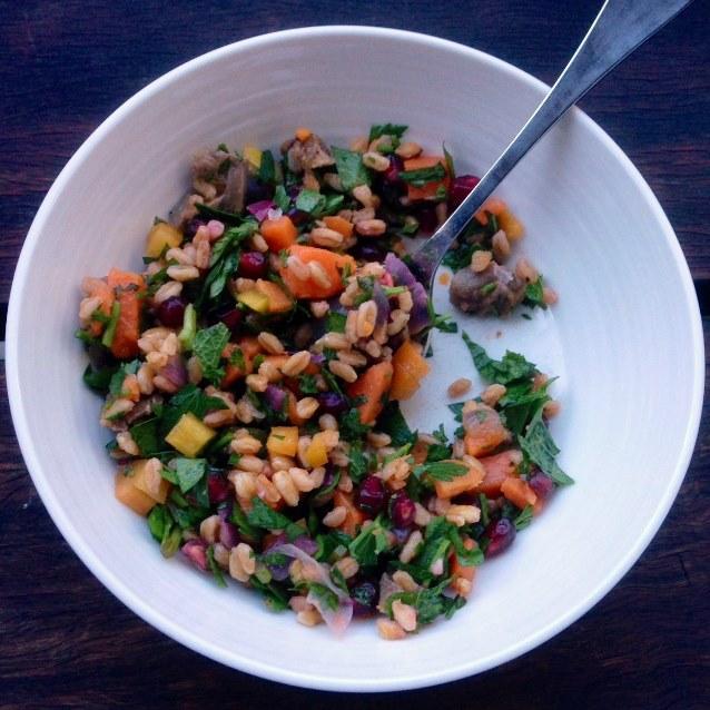 Lamb Shank, Pearl Barley and Sweet Potato Salad With Pomegranate Seeds and Fresh Herbs