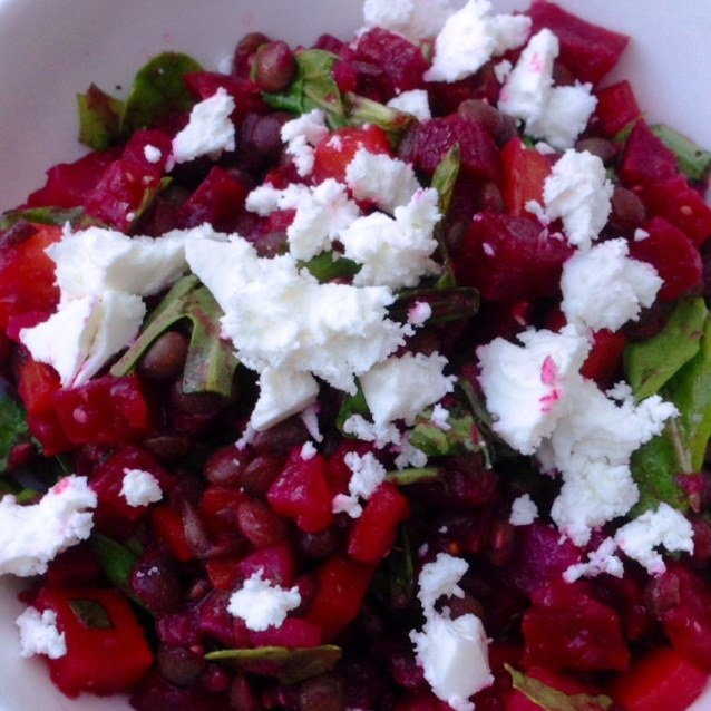 Roasted Beetroot and Carrot Salad With Puy Lentils, Rocket and Feta.