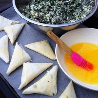 Spinach, Herb and Cheese Phyllo Pastry Triangles
