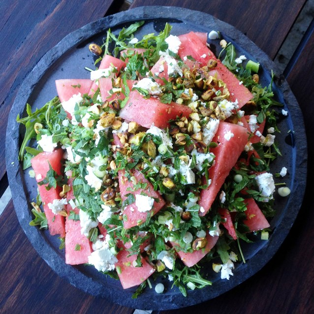 Watermelon, Feta & Mint Salad with Pistachio & Parsley and Lime