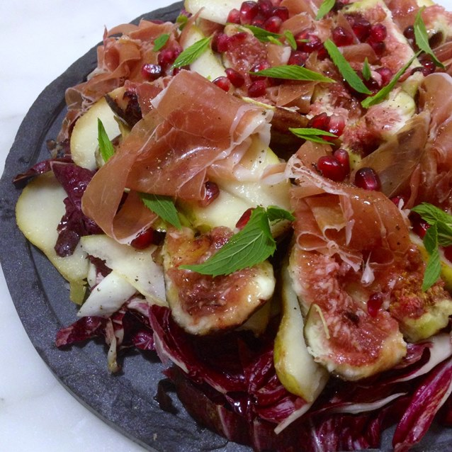 Eat Fast And Live Longer A 5 2 Fast Diet Recipe Idea Under 300 Calories Autumn Fig Pear And Radicchio Salad With Prosciutto And Pomegranate The Paddington Foodie