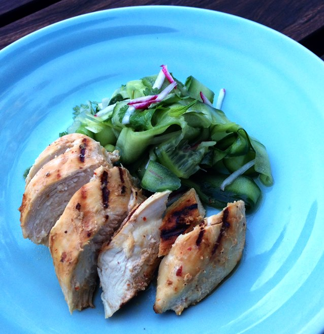 Grilled Spiced Yoghurt Chicken With Cucumber Salad