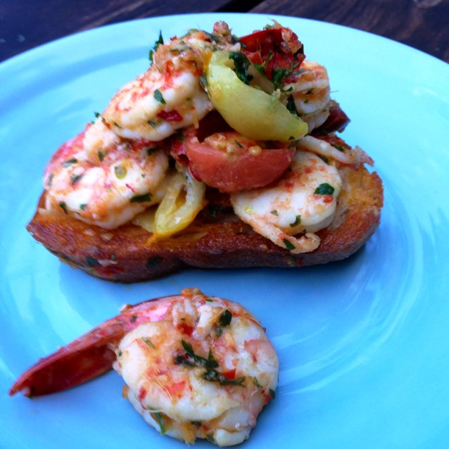 Prawn Bruschetta With Garlic, Ginger And Chilli