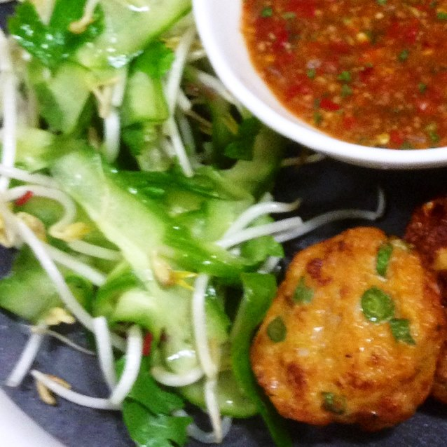 Spicy Thai Fishcakes With A Simple Cucumber And Bean Sprout Salad