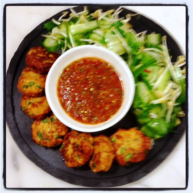 Spicy Thai Fishcakes With Nam Jim Dipping Sauce And A Simple Cucumber And Bean Sprout Salad