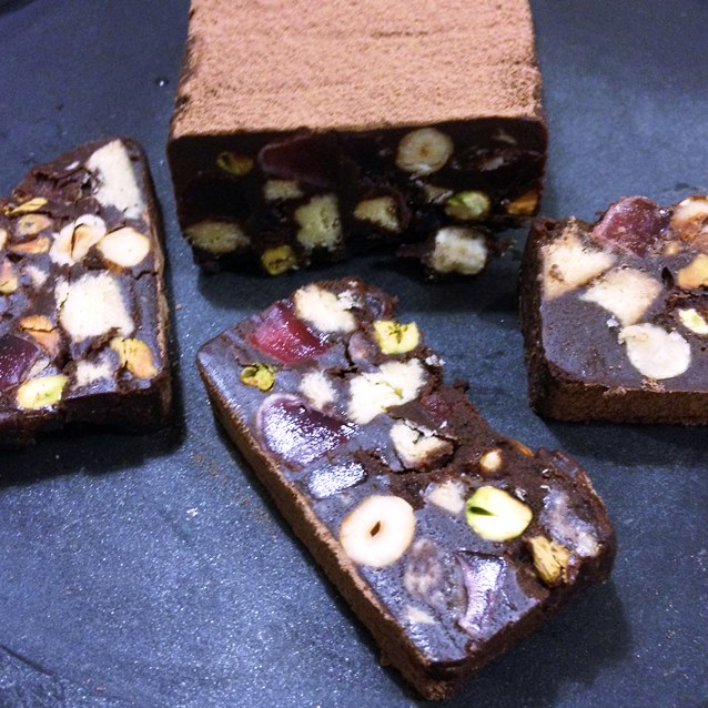 Chocolate Hedgehog Slice With Hazelnut, Pistachio and Turkish Delight