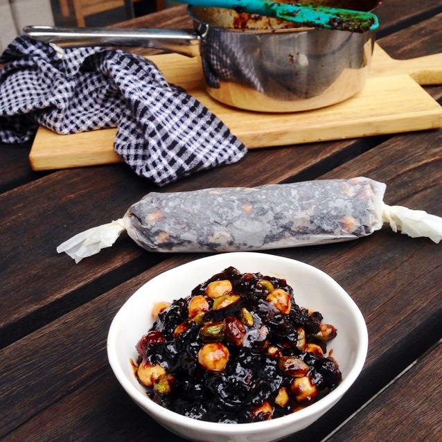 Prune, Pistachio and Hazelnut Log Paste