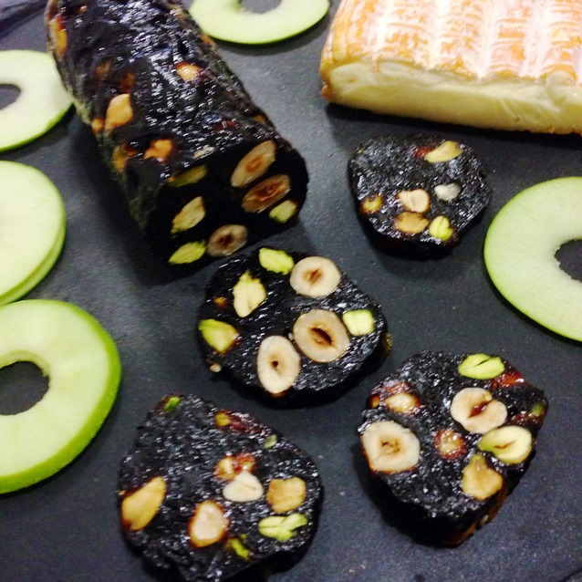 Prune, Pistachio and Hazelnut Log