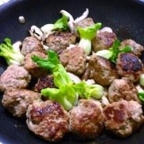 Lion's Head Meatballs With Bok Choy and Shitake Wok