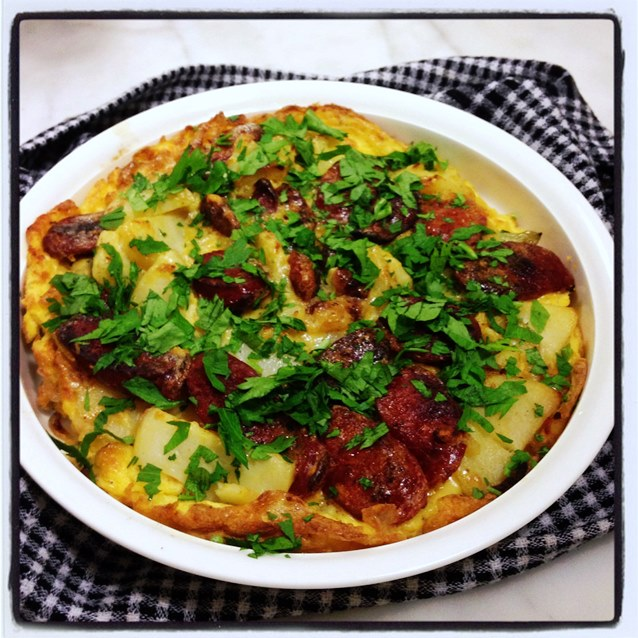 Spanish Style Potato Omelette With Chorizo And Green Peppers