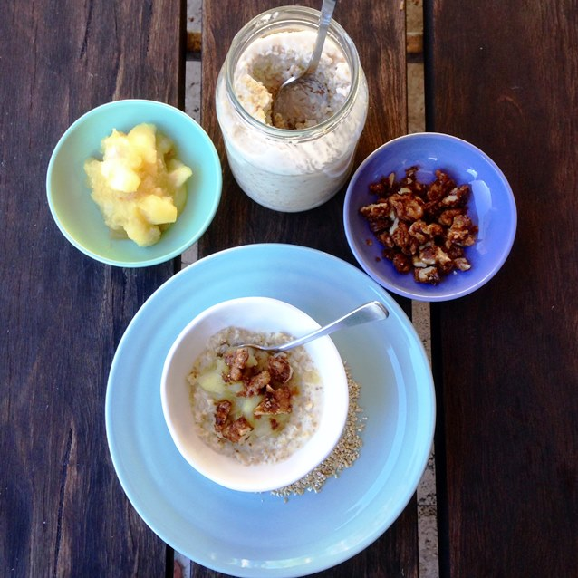 Steel Cut Oats With Apple Compote and Brown Sugar Walnuts