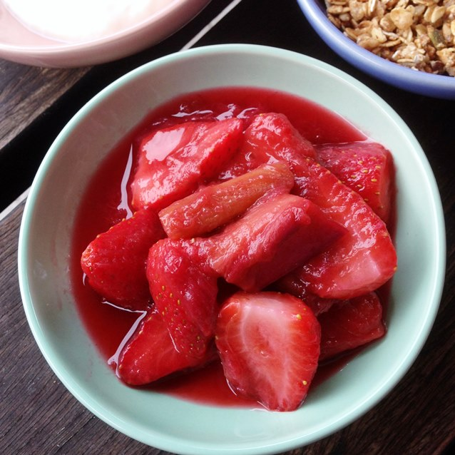 Rhubarb and Strawberry Compote With Vanilla and Balsamic