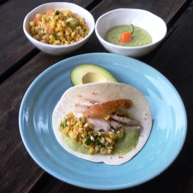 Soft Chicken Tacos With Roasted Corn Salsa and Green Chilli Sauce.