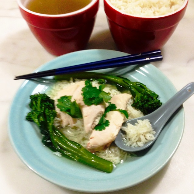 Poached Hainanese Chicken With Broccolini And Steamed Rice Fast Day