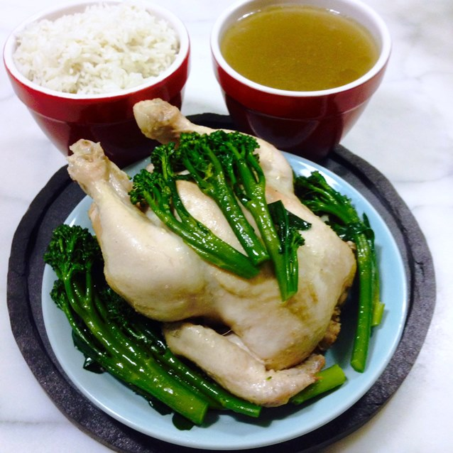 Poached Hainanese Chicken With Broccolini And Steamed Rice