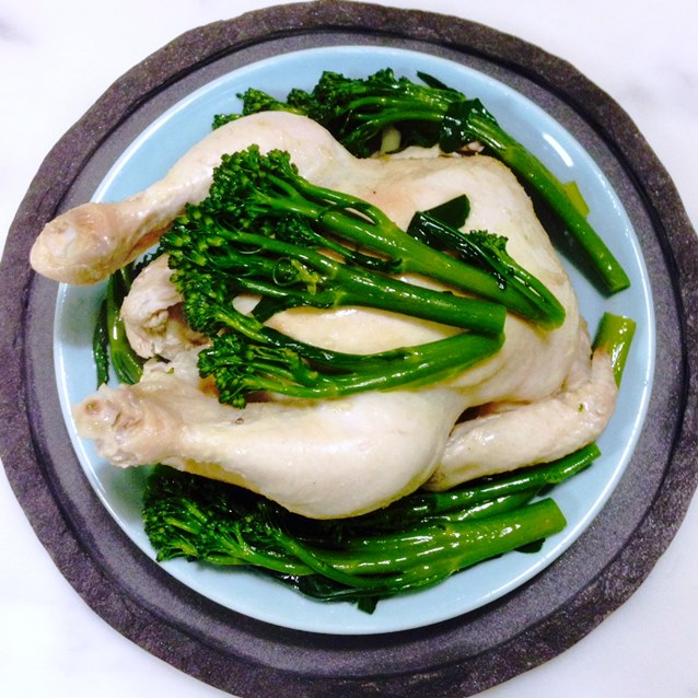 Poached Hainanese Chicken With Broccolini