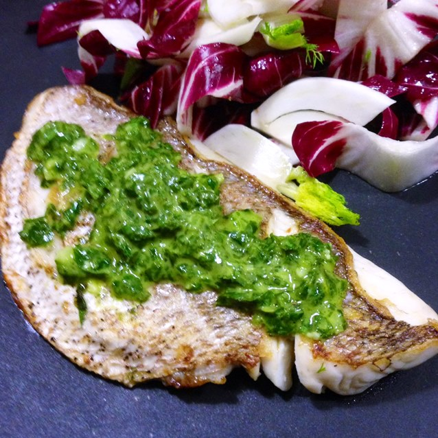 Seared Snapper With A Fresh Parsley And Chive Sauce.
