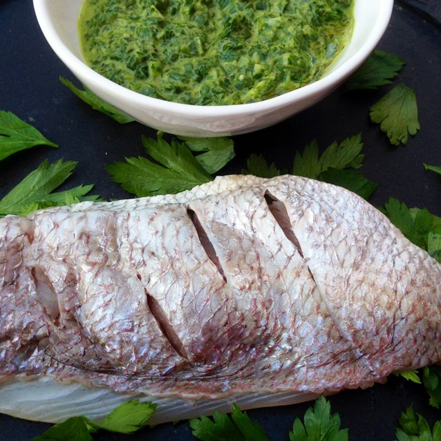 Snapper Fillets With Fresh Parsley And Chive Sauce