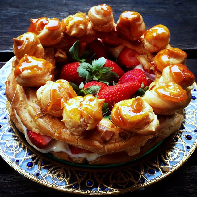 Strawberry Choux Pastry Crown With Creme Patissiere