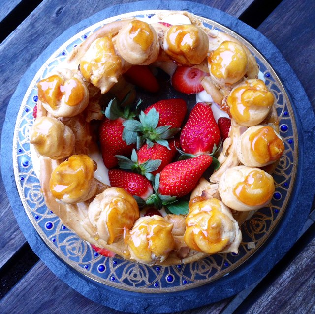 Strawberry Choux Pastry Crown