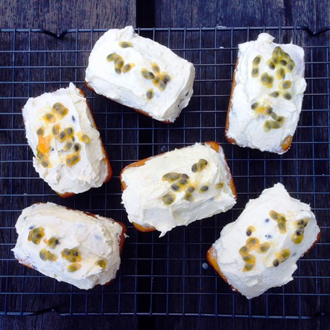 Little Coconut Tea Cakes With Passionfruit Buttercream Frosting