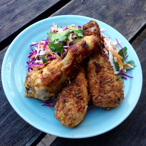 Oven Fried Buttermilk Chicken Drumsticks With Coleslaw