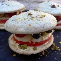Pistachio Dacquoise With Rosewater Berries, Watermelon and Marscapone Cream