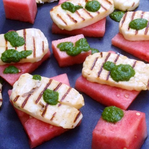 Watermelon And Haloumi Salad With Chimichurri Dressing