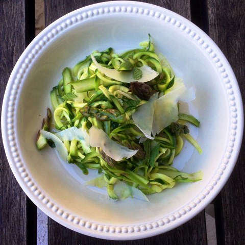 Raw Summer Asparagus and Zucchini Salad with Parmesan, Lemon And Mint