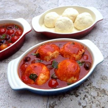Ricotta Gnudi and Puttanesca Sauce