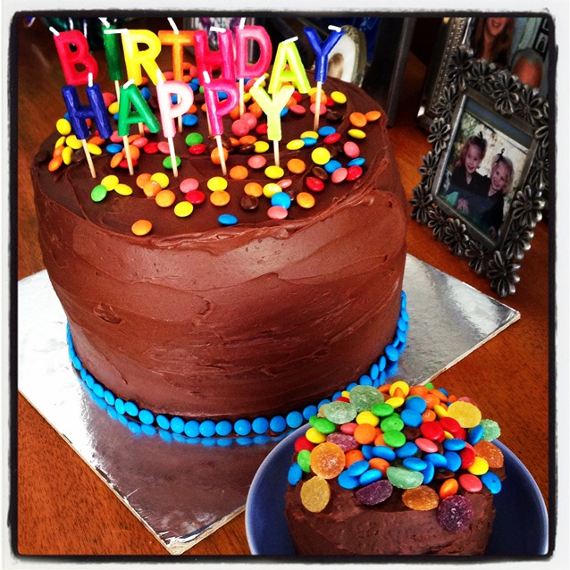 Of Love. Four Layer Chocolate And Caramel Ombré Piñata Birthday Cake ...