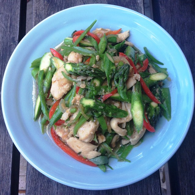 Spring Stir Fry With Chicken, Asparagus And Snow Pea